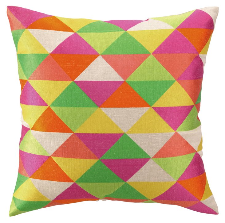 Vibrant 20x20 Embroidered Pillow, Multi