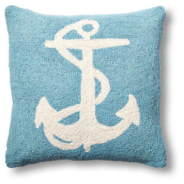 Anchor 18x18 Wool Pillow, Blue
