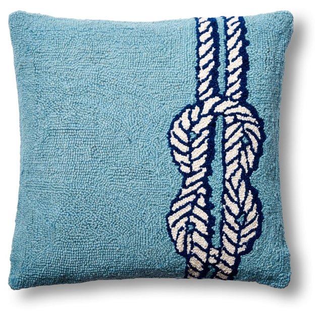 Nautical Knot 18x18 Wool Pillow, Blue