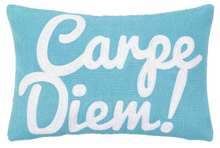 """""""Carpe Diem"""" 8x12 Cotton Pillow, Blue"""