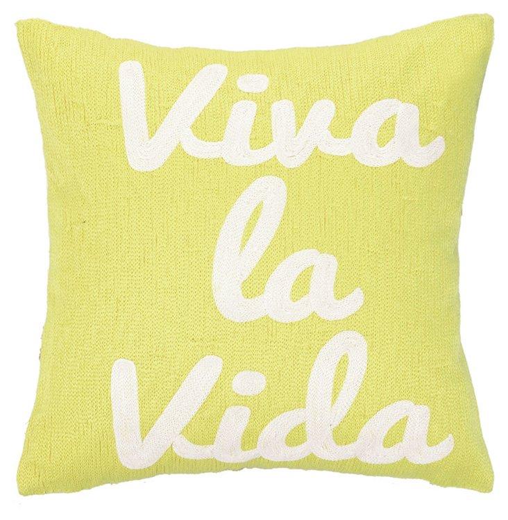 """Vida"" 12x12 Cotton Pillow, Lime Green"