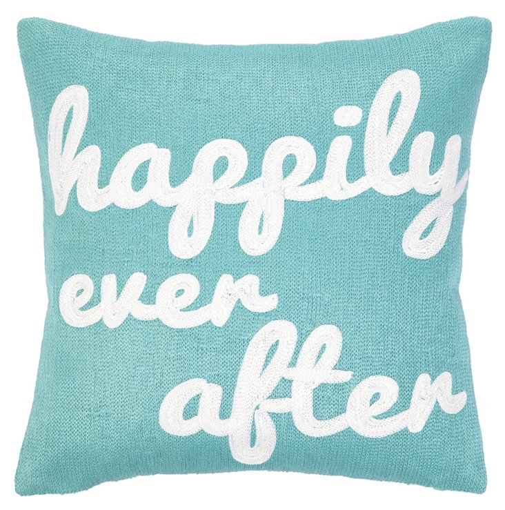"""Happily"" 12x12 Cotton Pillow, Blue"