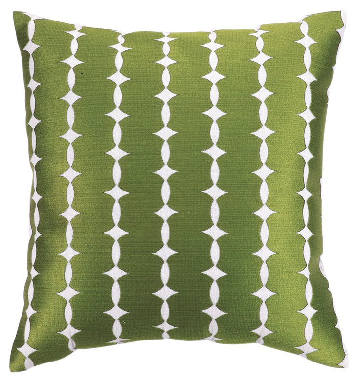 Eva 20x20 Embroidered Pillow, Green