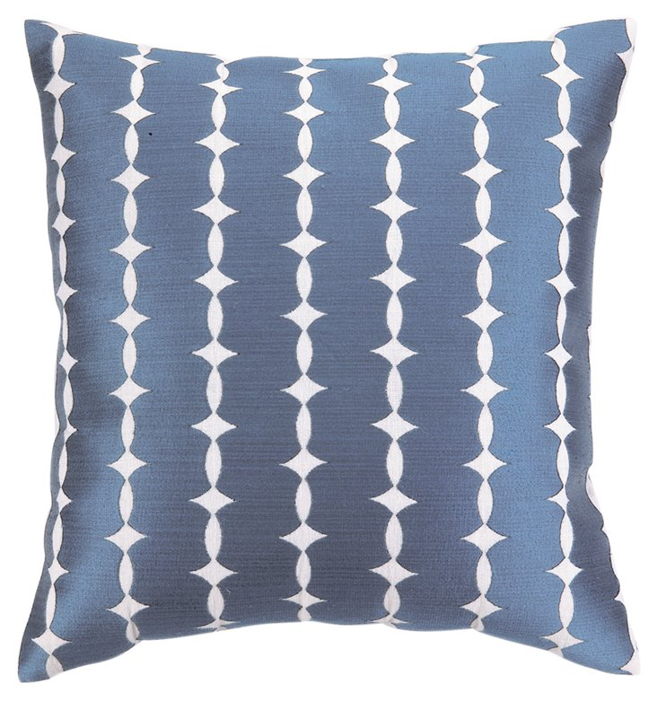 Eva 20x20 Embroidered Pillow, Blue