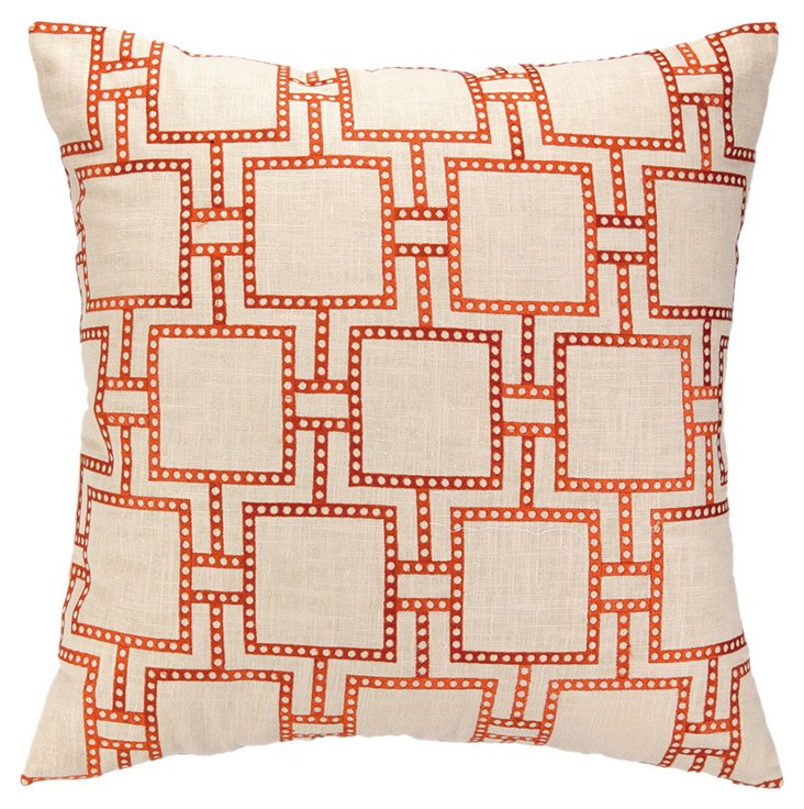 Dot 20x20 Embroidered Pillow, Orange