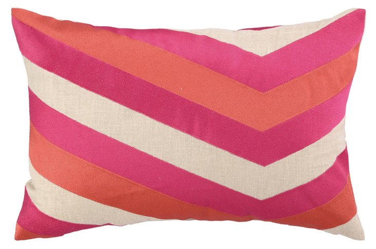 Calypso 14x20 Embroidered Pillow, Pink