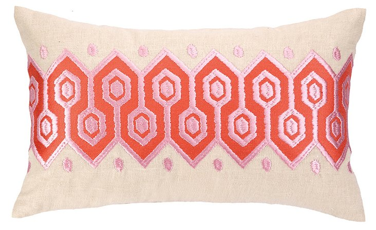 Pathway 12x20 Embroidered Pillow, Coral