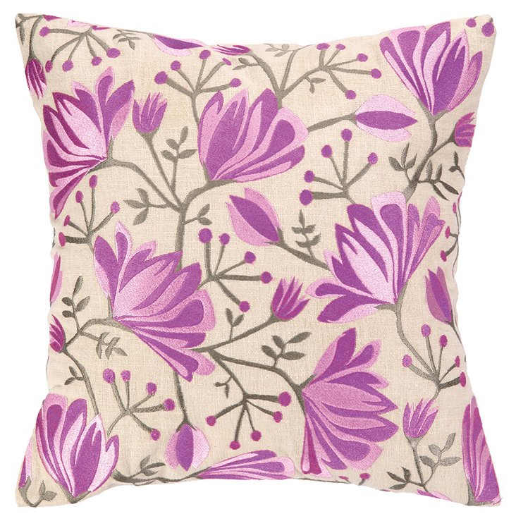 Ivy 16x16 Embroidered Pillow, Lilac