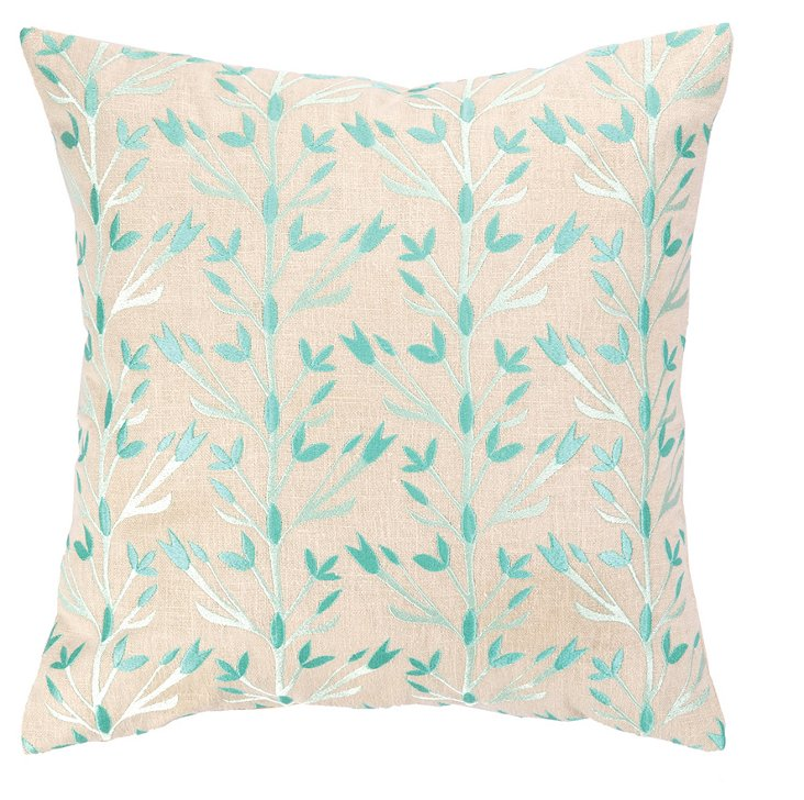Budding 16x16 Embroidered Pillow, Aqua