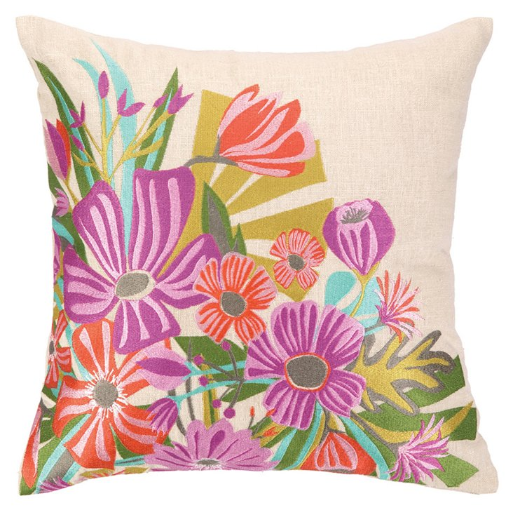 Collage 16x16 Embroidered Pillow, Multi