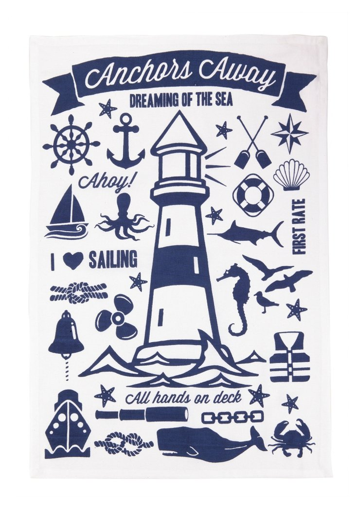 """S/2 """"Anchors Away"""" Kitchen Towels"""