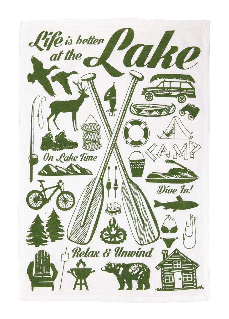 """S/2 """"Lake House"""" Kitchen Towels, Green"""