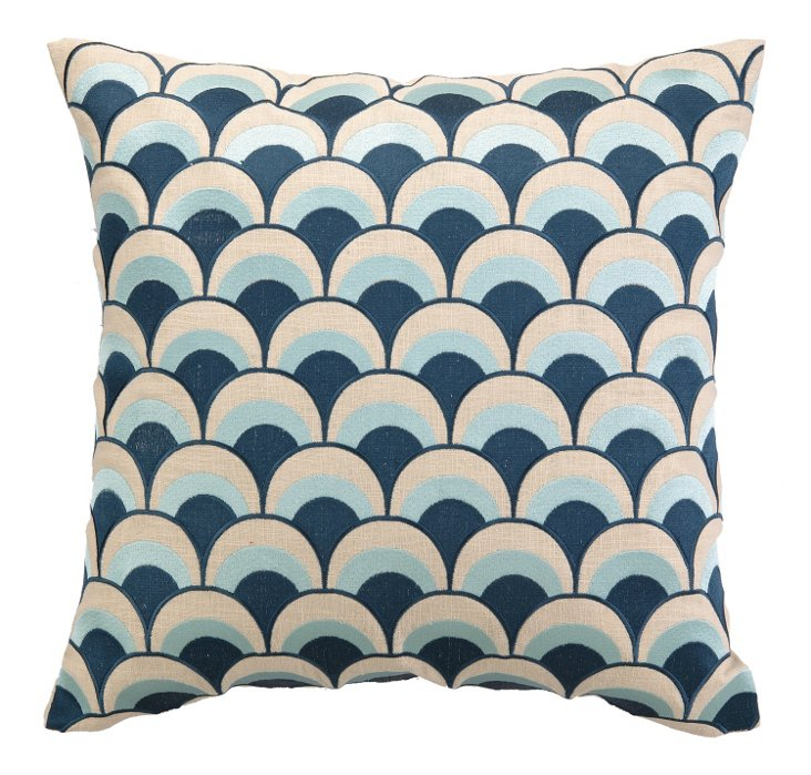 Arches 20x20 Embroidered Pillow, Navy
