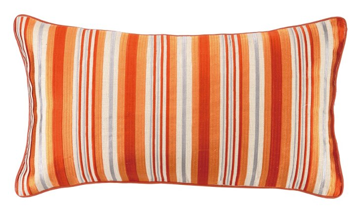 Bahir 14x26 Embroidered Pillow, Orange