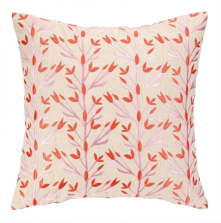 Blossom 16x16 Embroidered Pillow, Multi