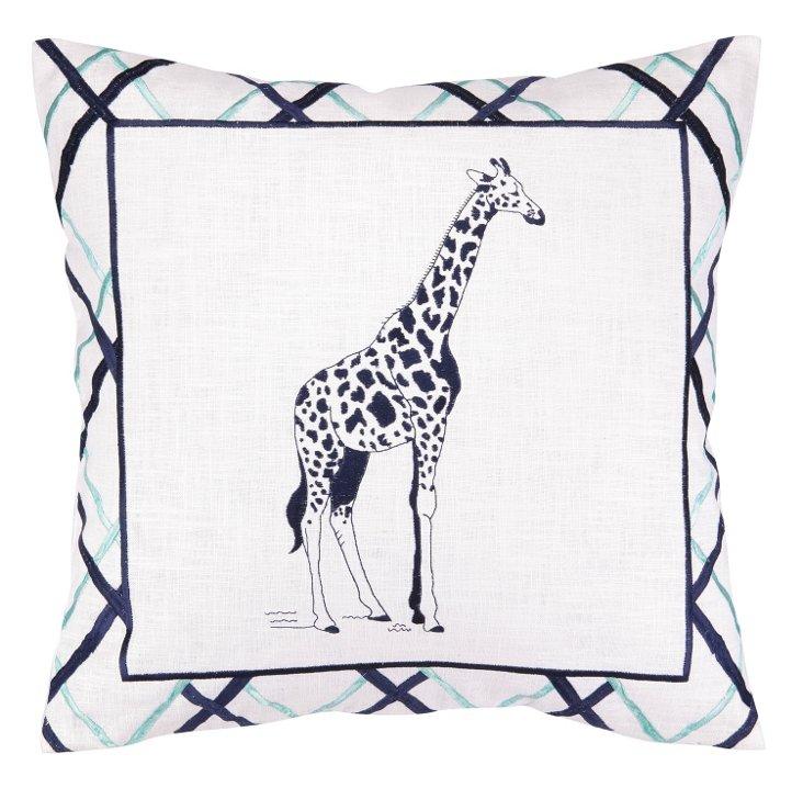 Giraffe 18x18 Embroidered Pillow, Blue