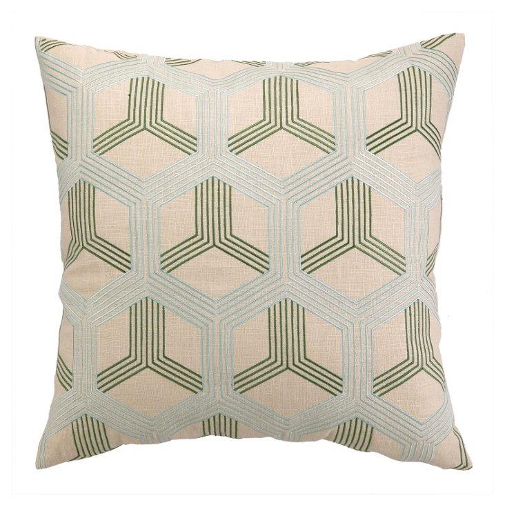 Lori 20x20 Cotton Pillow, Blue