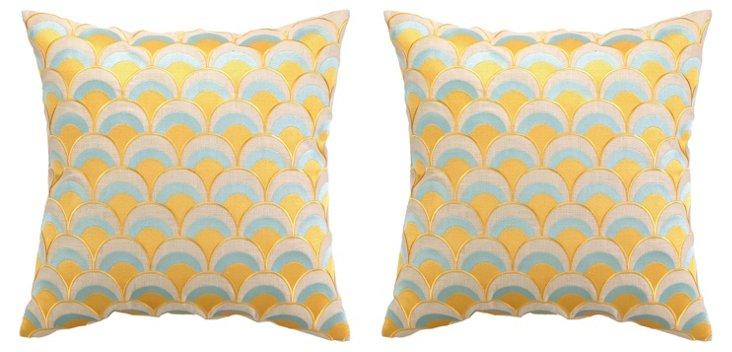 S/2 Arch 20x20 Linen Pillows, Yellow