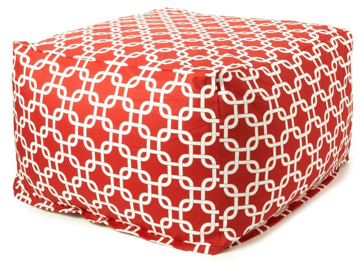 Links Outdoor Ottoman, Red
