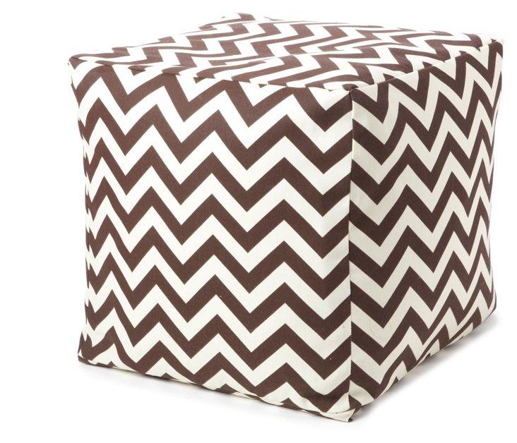 Zigzag Outdoor Cube, Brown