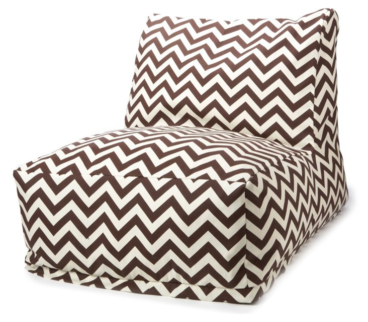 Zigzag Outdoor Beanbag Chair, Chocolate