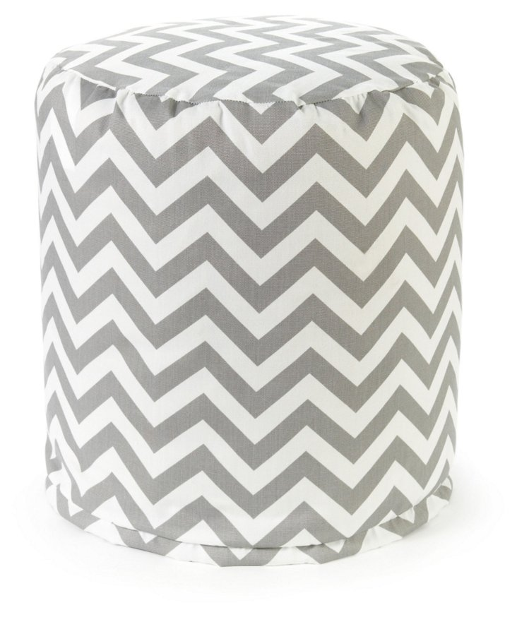 Zigzag Outdoor Round Pouf, Gray