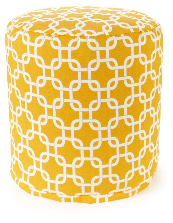 Links Outdoor Round Pouf, Yellow