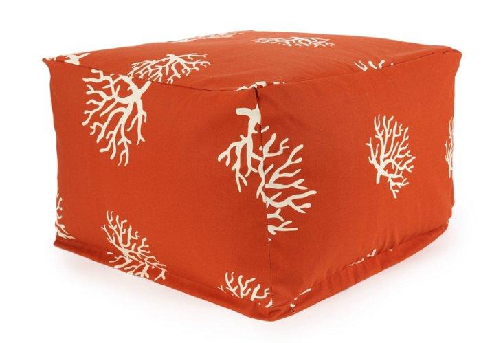 Coral Outdoor Ottoman, Orange
