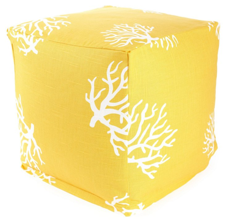 Yellow Coral Outdoor Poufs, Small