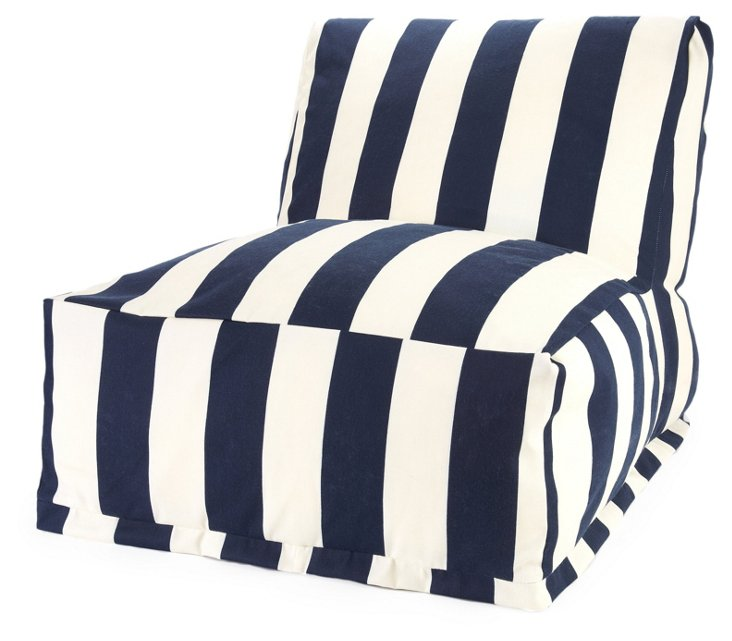 Striped Outdoor Lounger, Navy