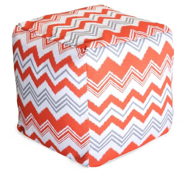 Zigzag Outdoor Cube, Orange/Gray