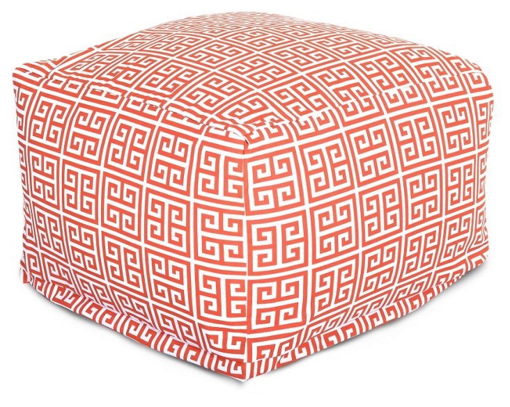 Orange Greek Key Outdoor Pouf, Large