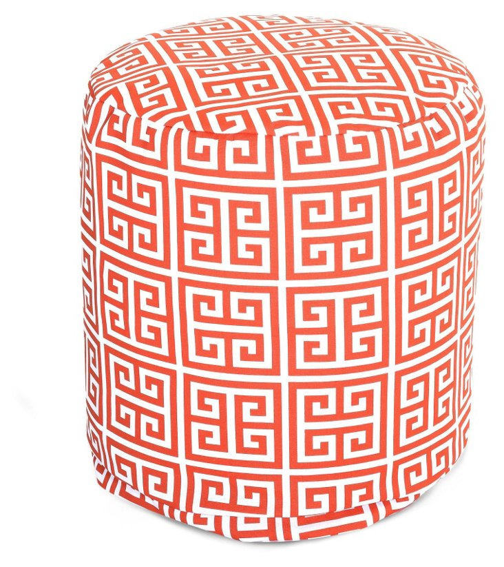 Greek Key Outdoor Round Pouf, Orange