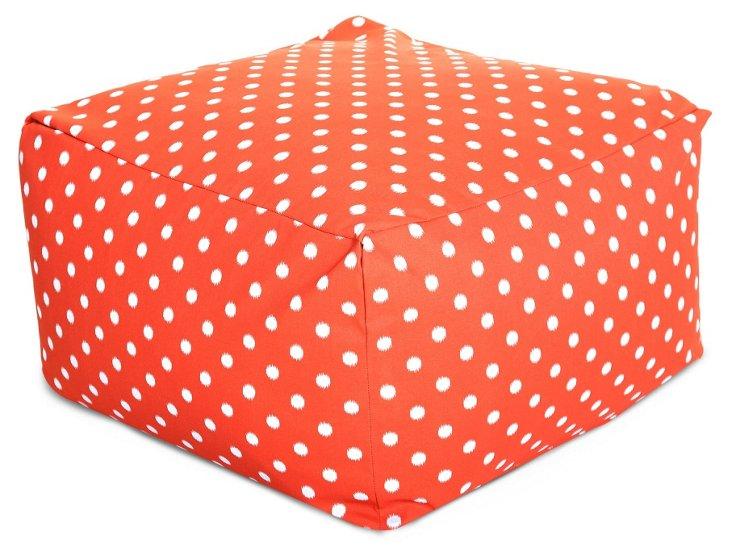 Polka Dot Outdoor Ottoman, Orange