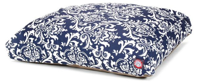 French Quarter Rectangle Pet Bed, Navy/White