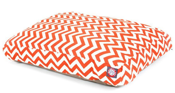 Zigzag Rectangle Pet Bed, Burnt Orange