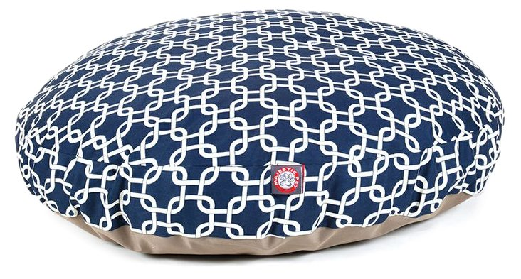 Links Round Pet Bed, Navy/White