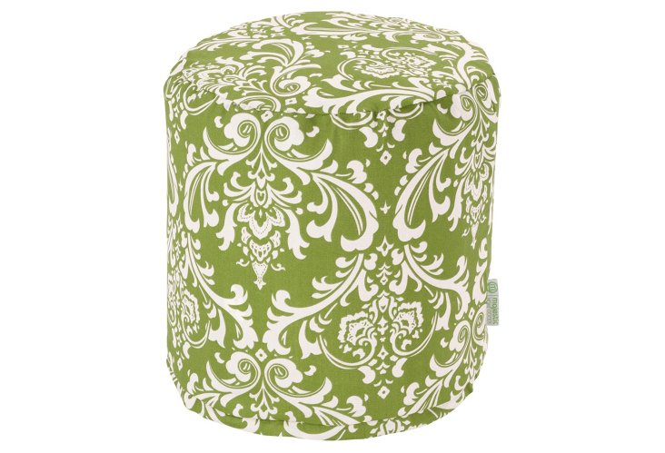 Quarter Outdoor Pouf, Green