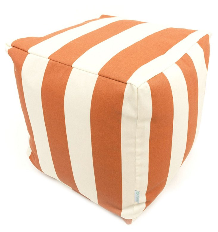 Striped Outdoor Cube, Burnt Orange