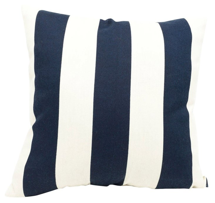 Striped 20x20 Outdoor Pillow, Navy