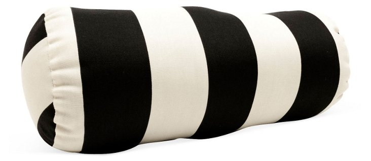 Striped 8x18 Outdoor Pillow, Black