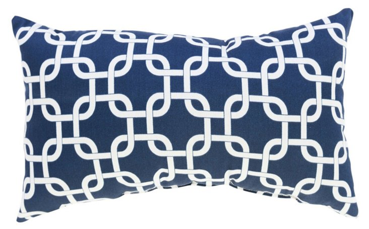 Links 12x20 Cotton-Blended Pillow, Navy