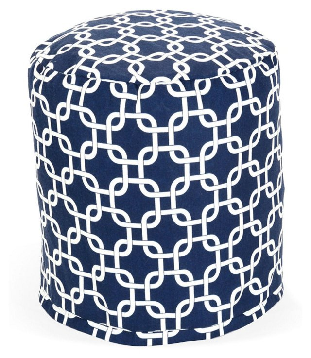 Links Outdoor Pouf, Navy