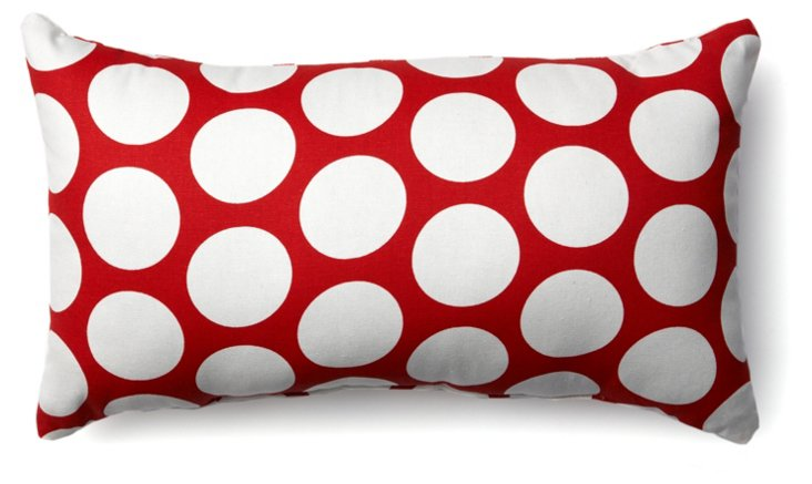 Polka Dot 12x20 Pillow, Red