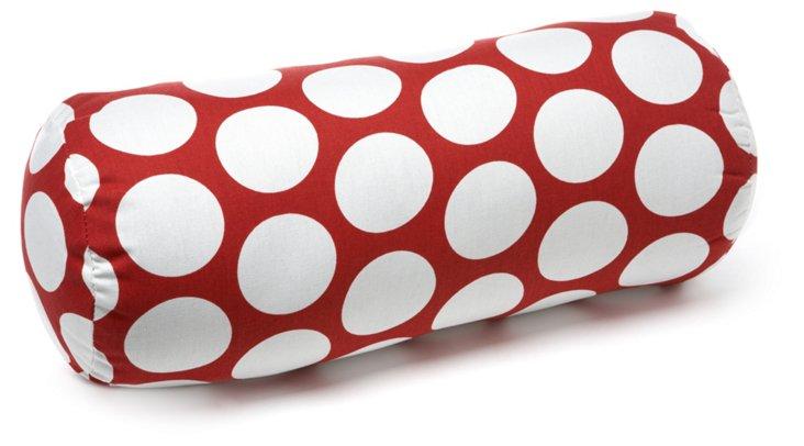 Polka Dot 8x18 Bolster Pillow, Red
