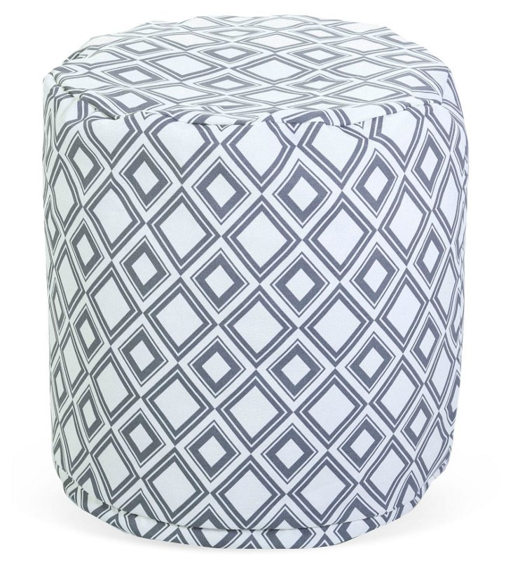 Santorini Tiles Outdoor Pouf, Clay