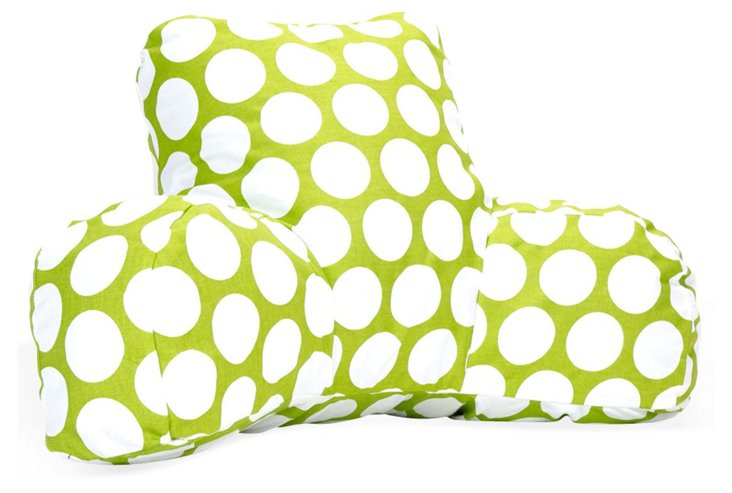 Polka Dot Reading Pillow, Green