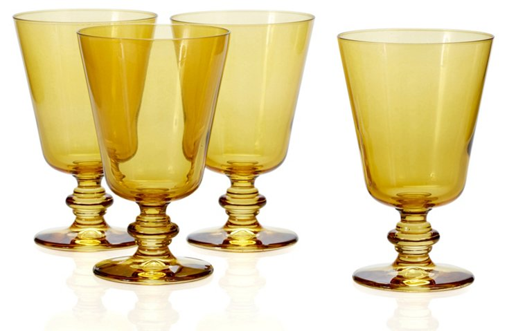 S/4 Water Glasses, Amber