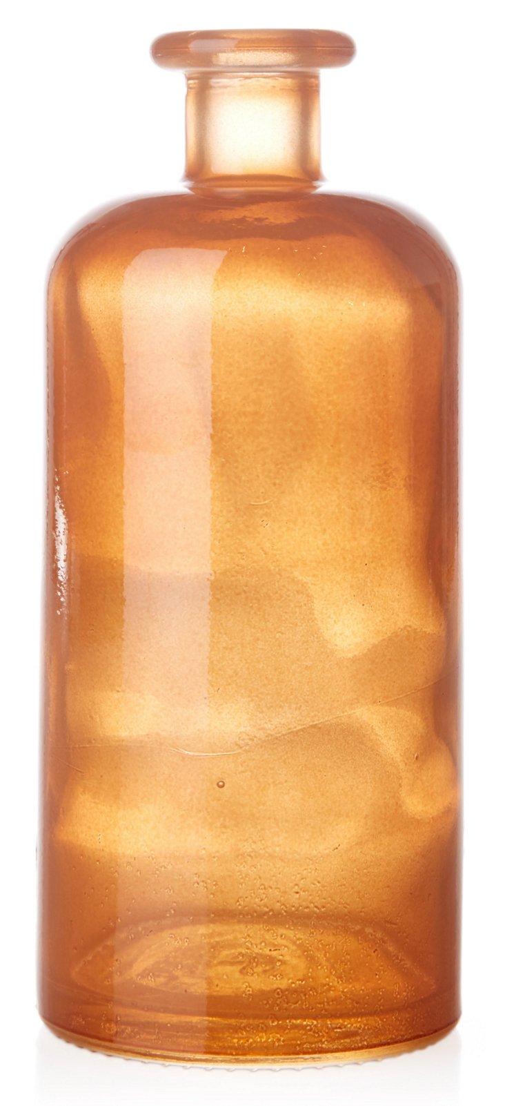 "8"" Decorative Glass Bottle, Orange"