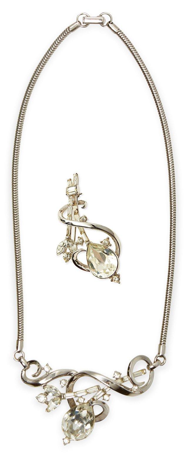 1960s Trifari Necklace & Pin Set